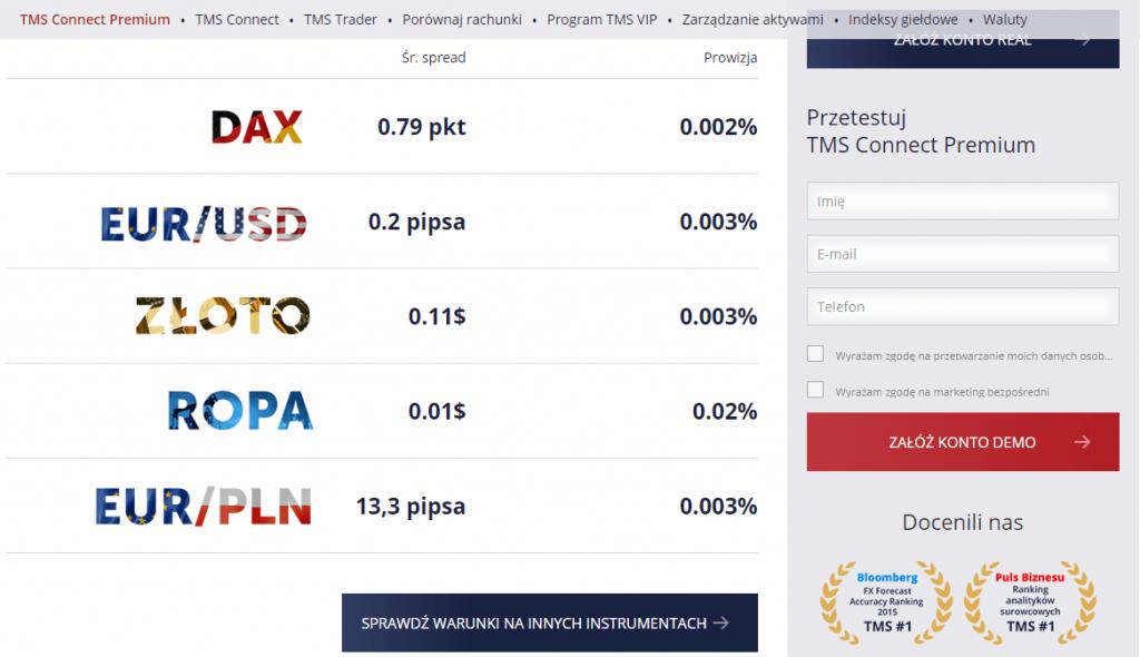 Narzędzie do porównywania spreadów - Rachunek TMS Connect Premium