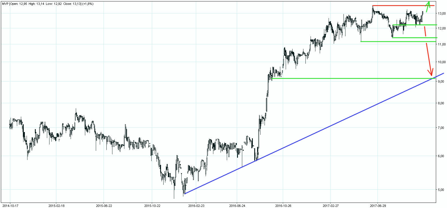 Wykres akcji spółki Marvipol